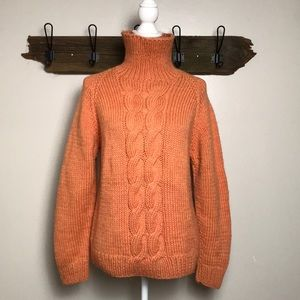 Chunky Sweater Hand Knit Oversized Turtleneck